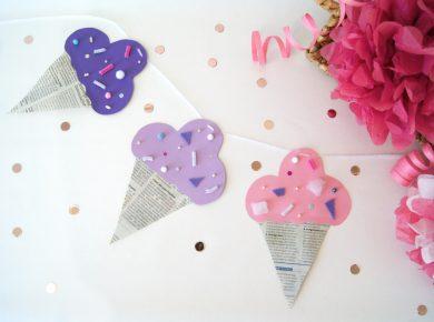 Kinder basteln eine Eis Creme Girlande für den Geburtstag | #party #basteln #kinder | von Fantasiewerk